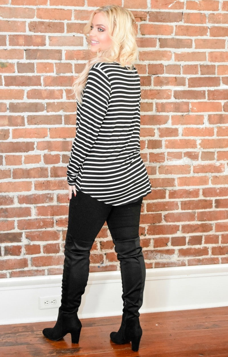 Lead The Way Striped Top - Black/White