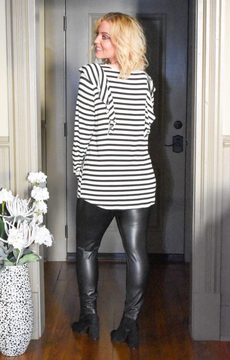 Load image into Gallery viewer, Holding You Forever Striped Top - Ivory/Black