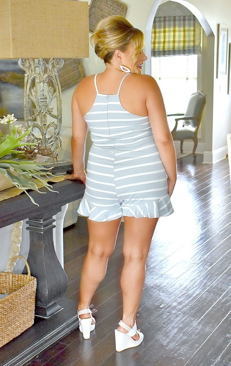 Load image into Gallery viewer, More Than Enough Striped Romper - Blue/White