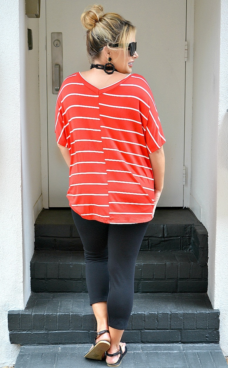 Time Flies Striped Top - Red/Ivory