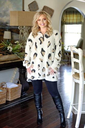 Can't Fool Me Leopard Print Pullover - Ivory
