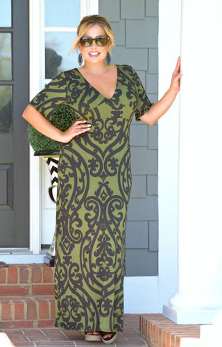 Kiss Me Goodbye Print Maxi Dress - Olive