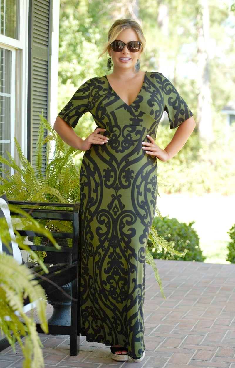 Load image into Gallery viewer, Kiss Me Goodbye Print Maxi Dress - Olive
