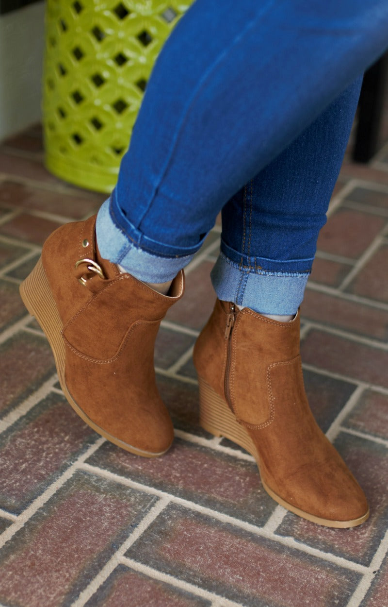 Put You Together Wedge Booties - Caramel Brown