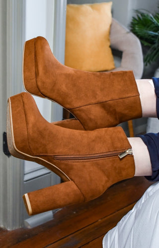 Left You Waiting Ankle Booties - Caramel Brown