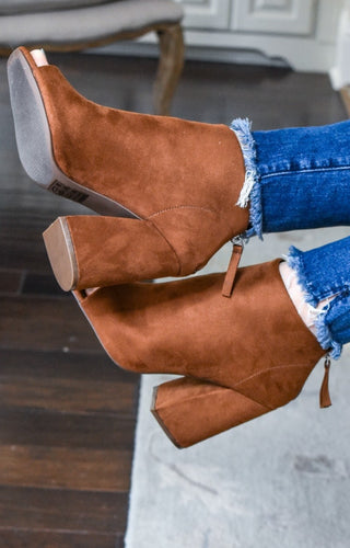 I'm Your Type Peep Toe Booties - Brown