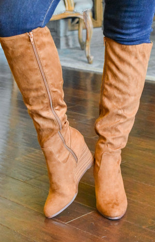 Confident Cutie Wedge Knee Boots - Caramel Brown