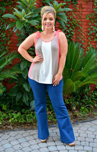 Sought After Colorblock Tank - Coral/Taupe