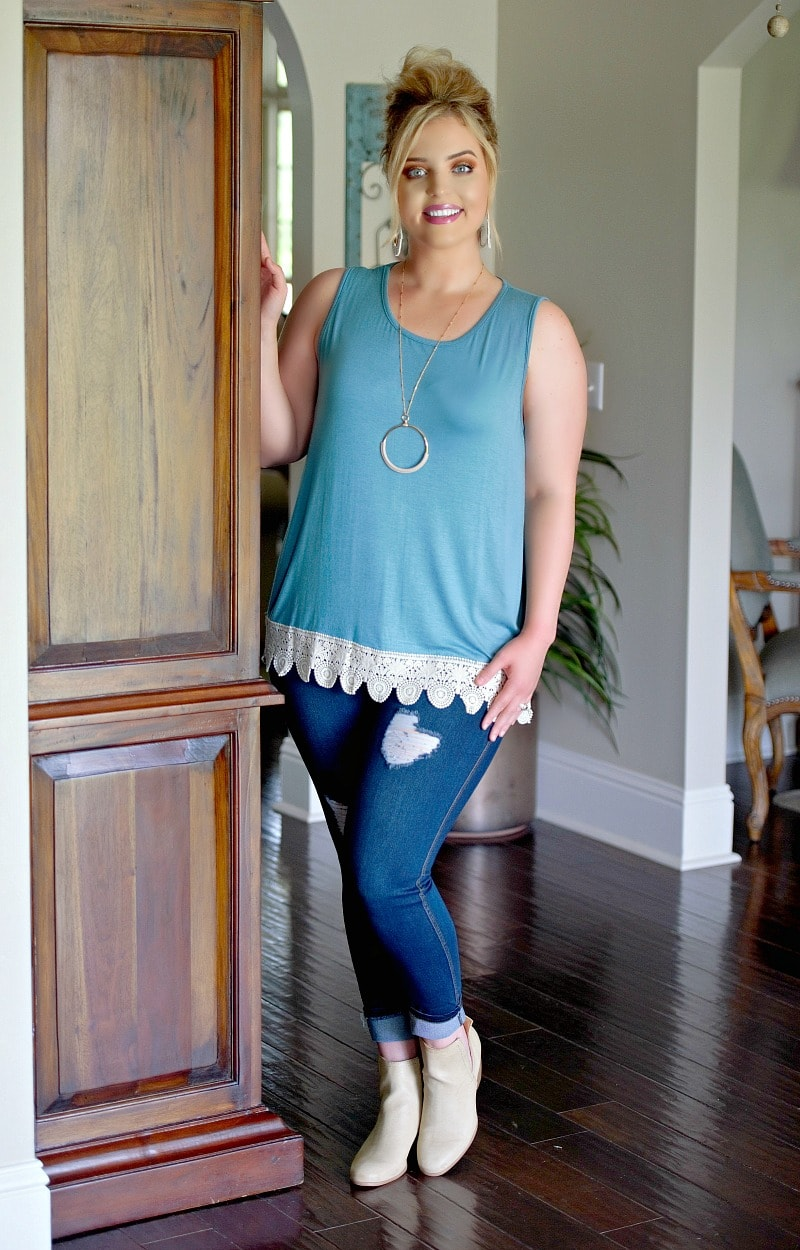 Heavenly Touch Lace Top - Teal