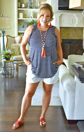Love Me Longer Striped Top - Navy