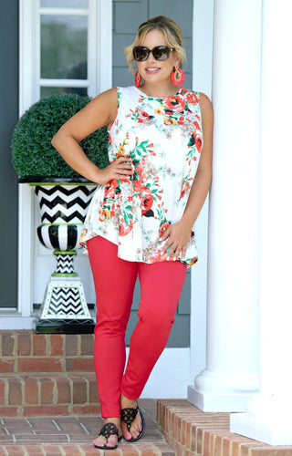 Making Headlines Floral Top - Ivory/Multi