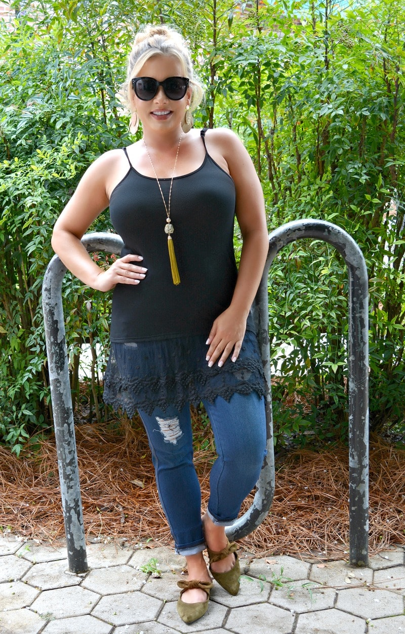 One Last Thing Lace Tank - Black
