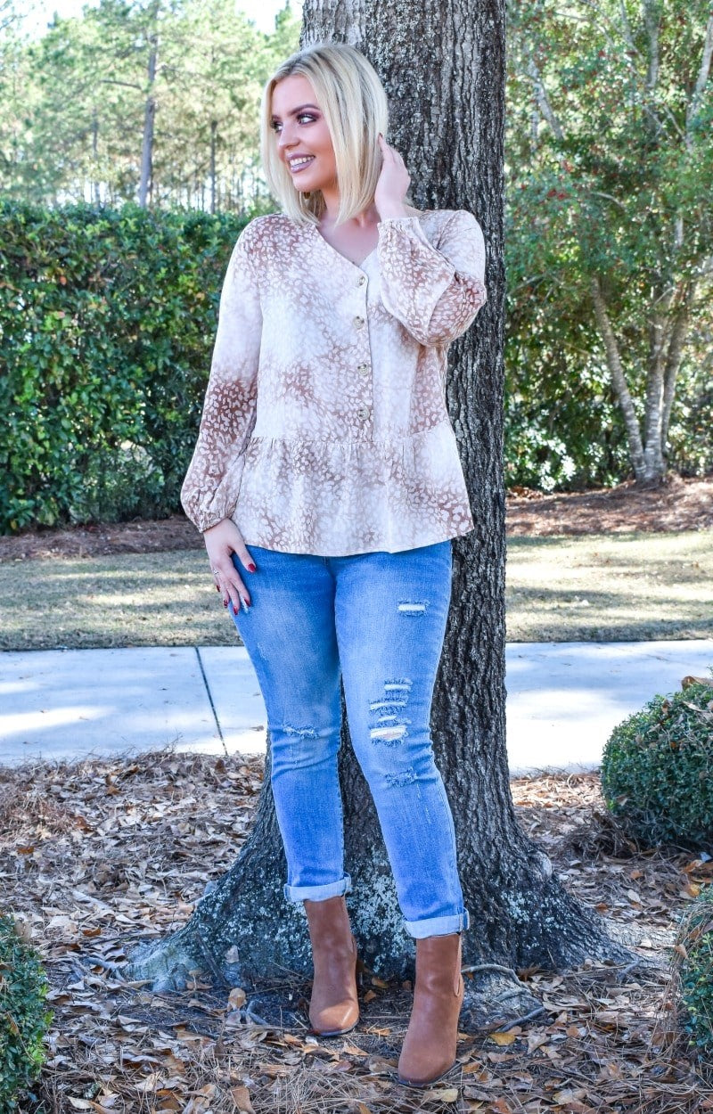 No Feelings Washed Leopard Print Top - Mocha