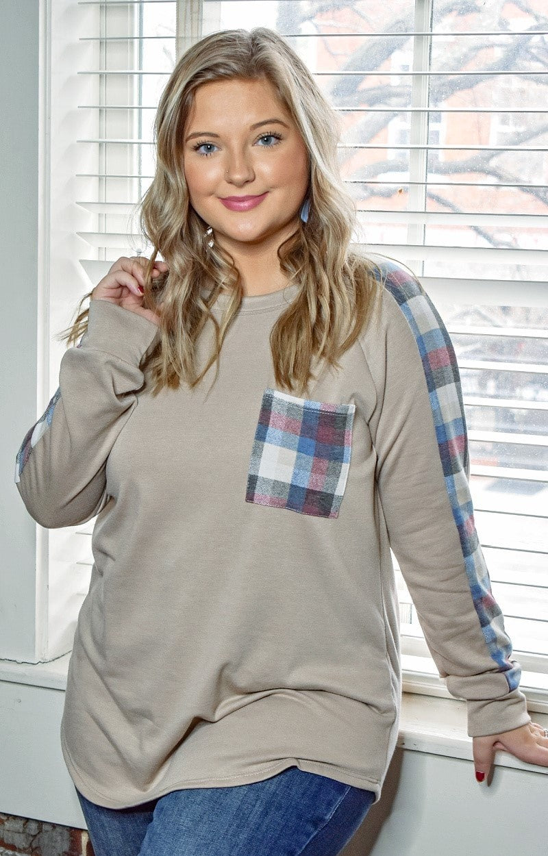 Tough Luck Plaid Pullover - Beige