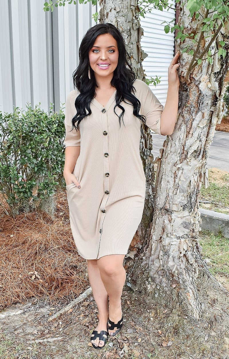 Load image into Gallery viewer, Straight To The Point Dress - Taupe