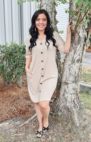 Straight To The Point Dress - Taupe