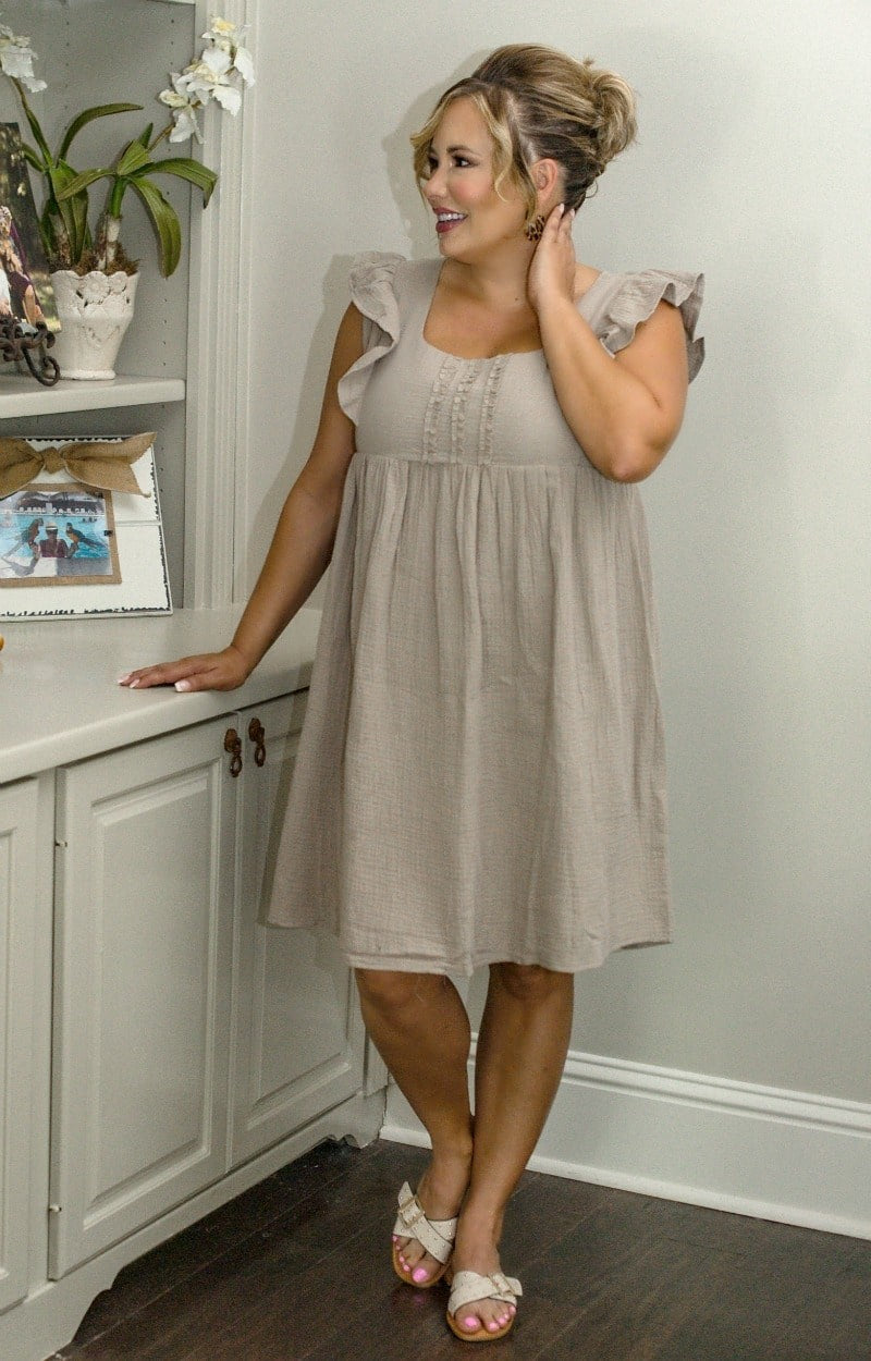 Settled In Dress - Taupe