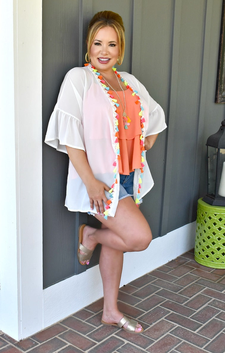 Load image into Gallery viewer, Just A Mirage Kimono - White/Multi