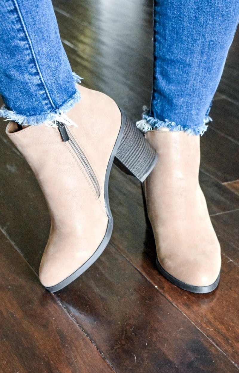Just The Start Booties - Taupe