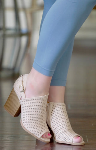 Call The Girls Peep Toe Booties - Cream