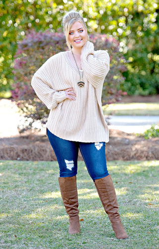 Arms Wide Open Oversized Sweater - Taupe