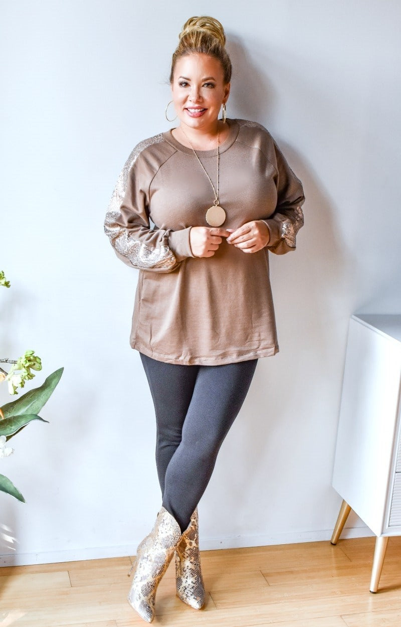 Get Glowing Sequin Pullover - Taupe