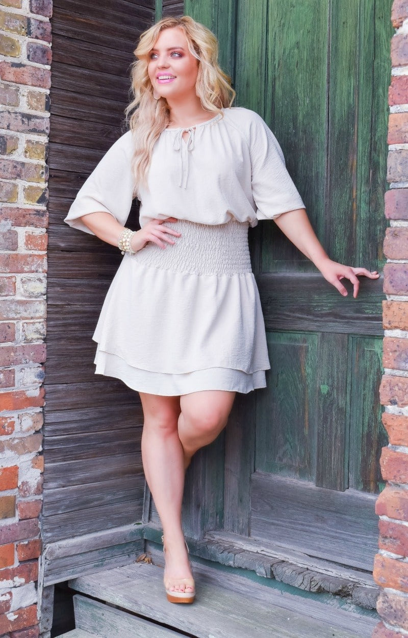 Load image into Gallery viewer, Ask Me Out Smocked Dress - Oatmeal