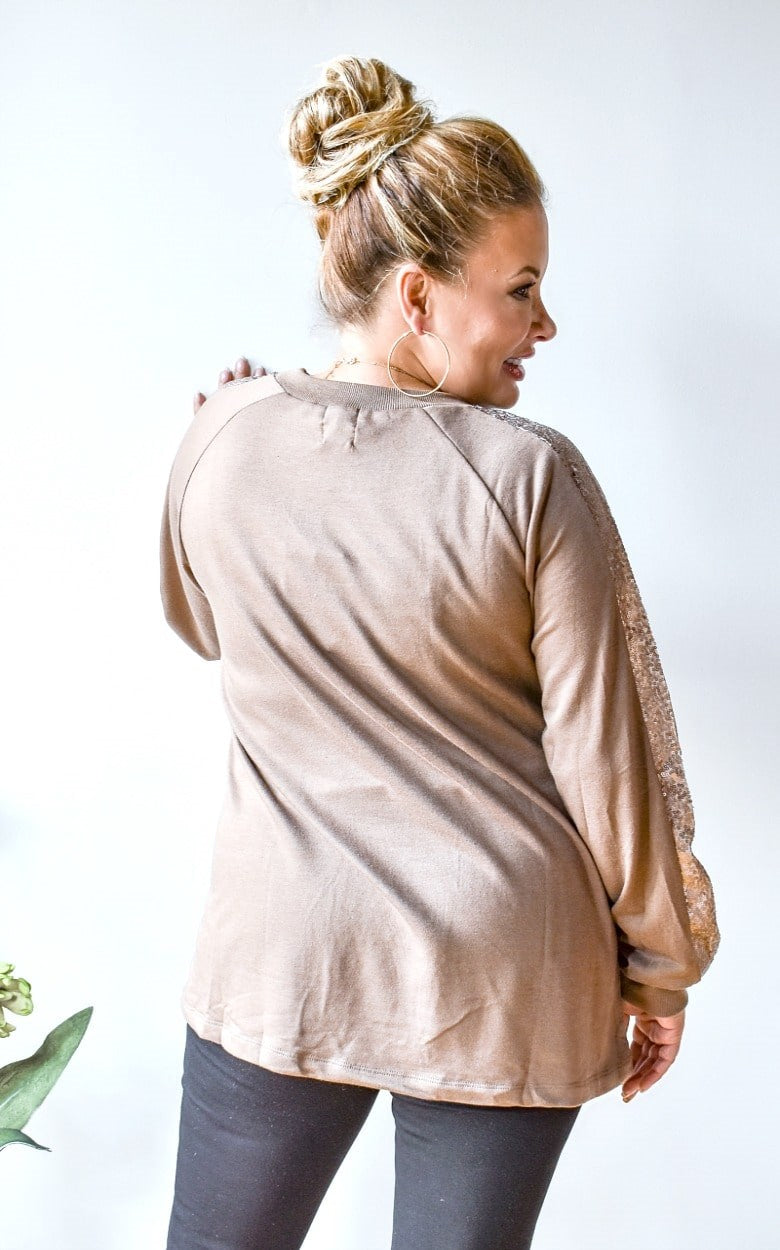 Load image into Gallery viewer, Get Glowing Sequin Pullover - Taupe