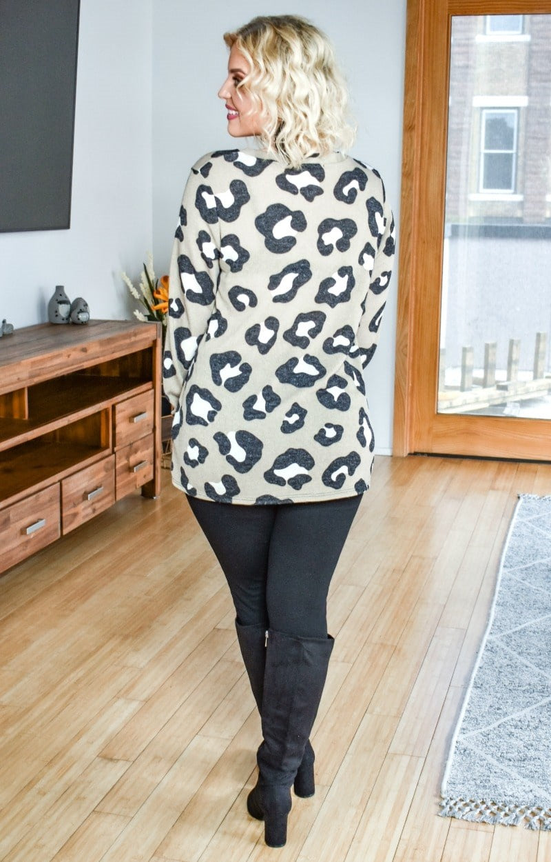 Spotted You From Afar Leopard Print Sweater - Taupe