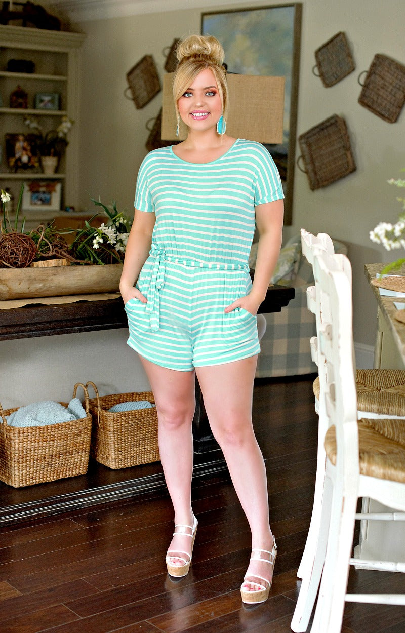 Load image into Gallery viewer, Comfort First Striped Romper - Mint/Ivory