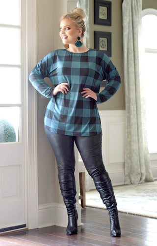 Like It Better Plaid Top - Black/Teal