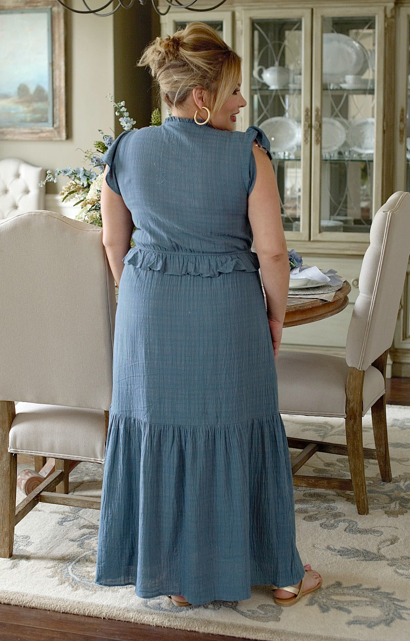 Load image into Gallery viewer, My Sweet Lady Maxi Dress - Denim Blue