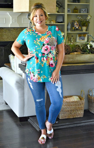 Make Things Easy Floral Top - Teal
