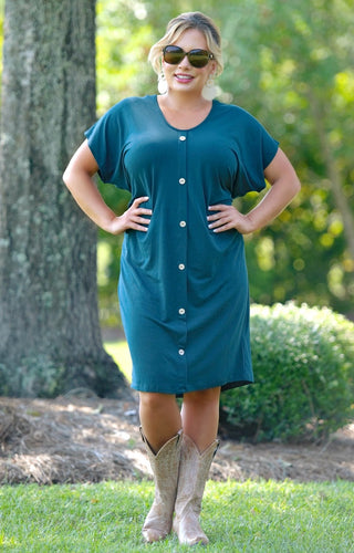 Stay Focused Dress - Hunter Green