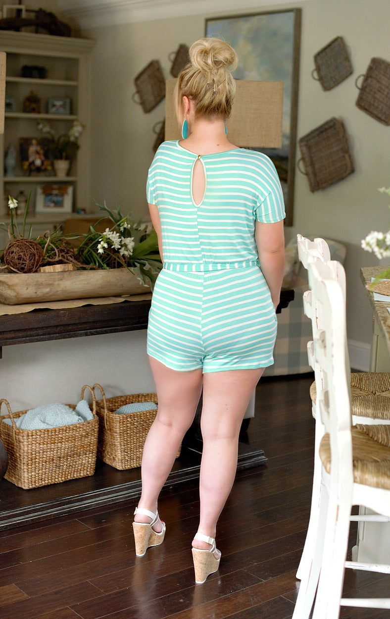Comfort First Striped Romper - Mint/Ivory