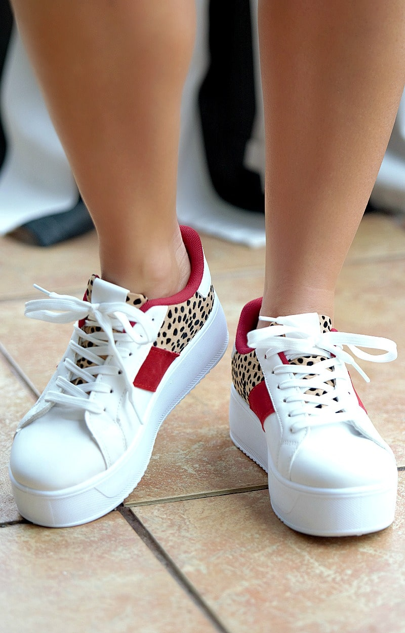 In High Demand Print Sneakers - Wine/White