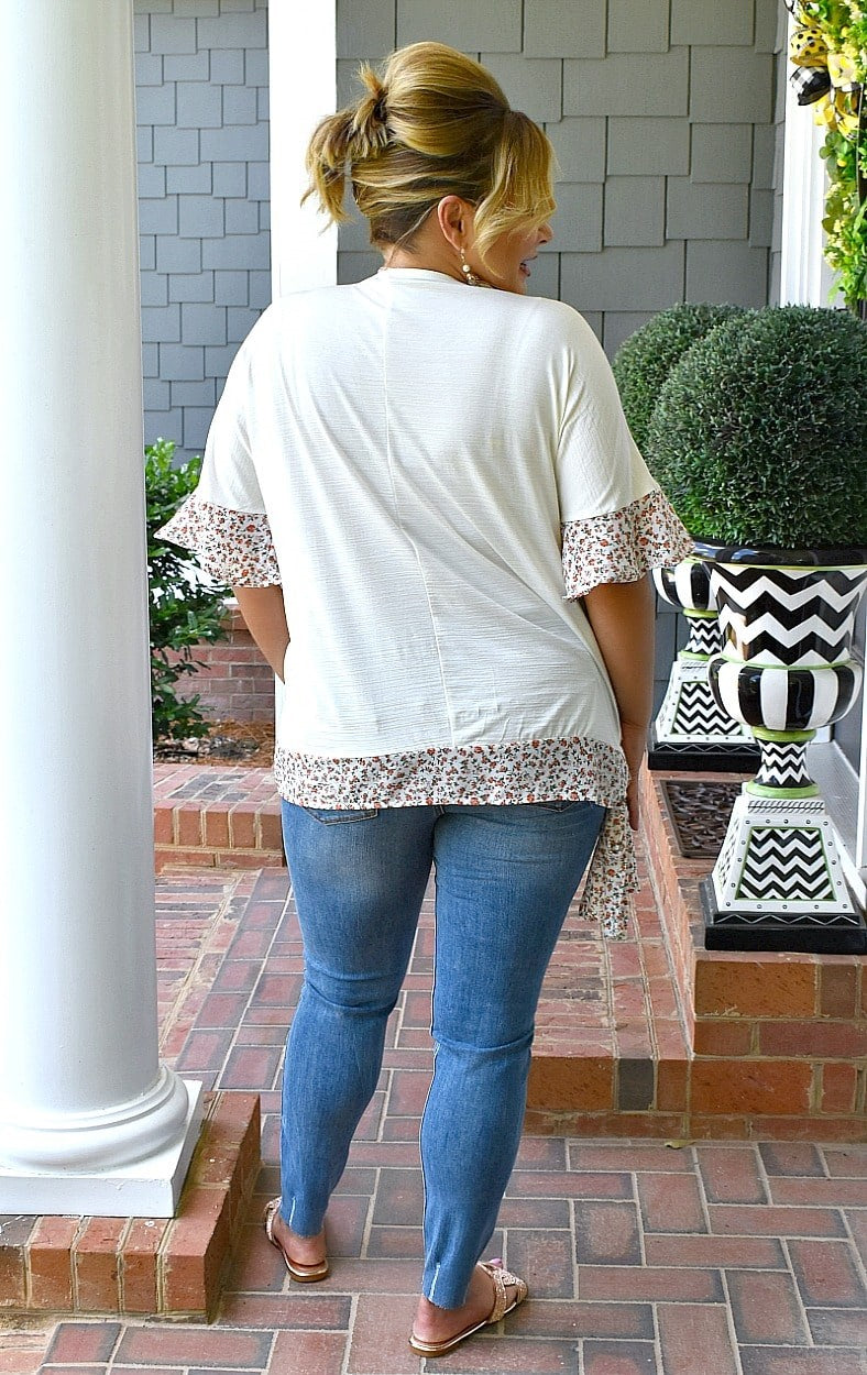 So Enchanted Floral Top - Ivory