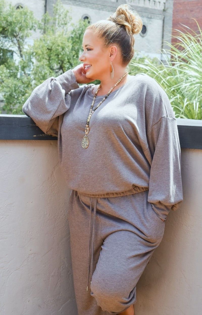 Just Lounging Around Pullover - Taupe