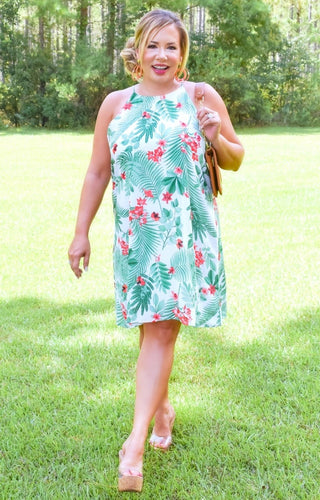 Tropical Breeze Print Dress - Ivory