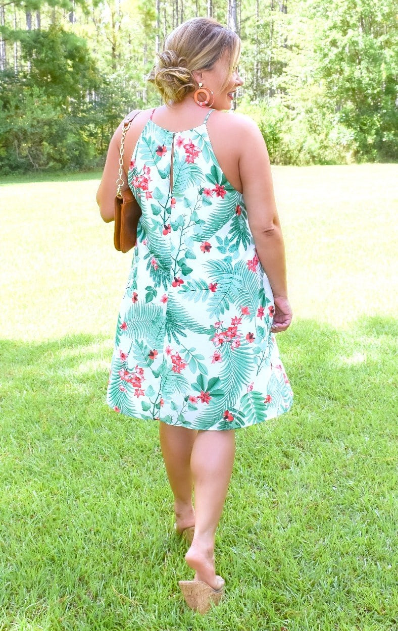 Load image into Gallery viewer, Tropical Breeze Print Dress - Ivory