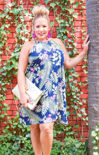 Tropical Breeze Print Dress - Navy