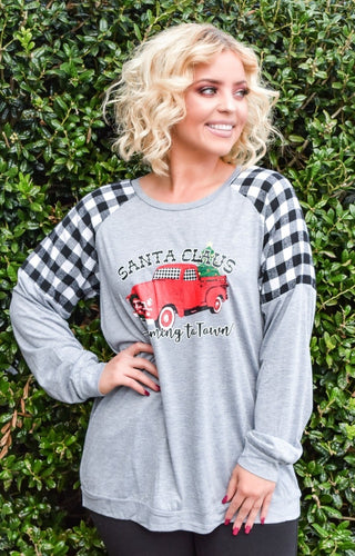 Santa Is Coming To Town Plaid Top - Gray