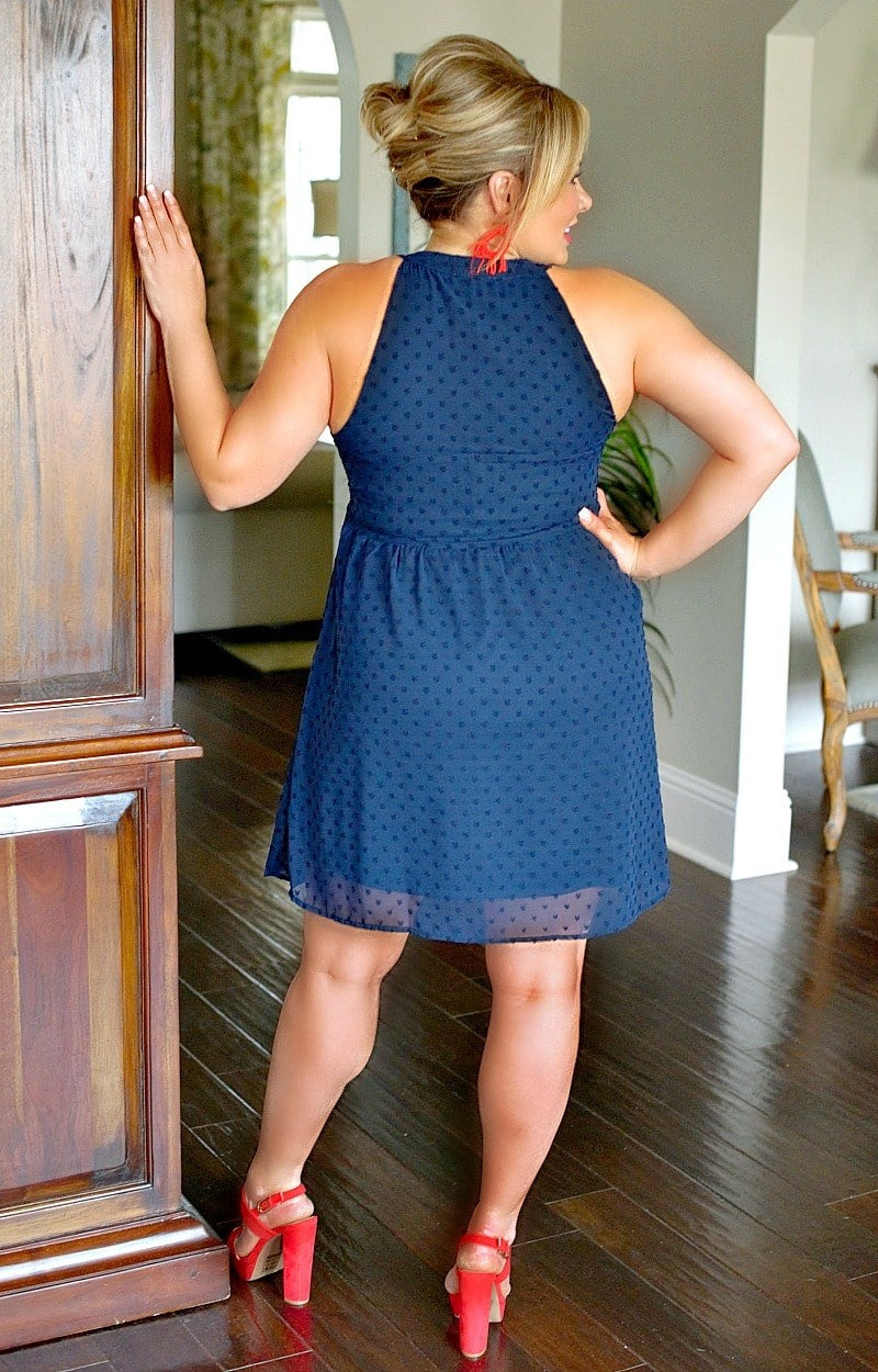Load image into Gallery viewer, True To You Embroidered Dress - Navy