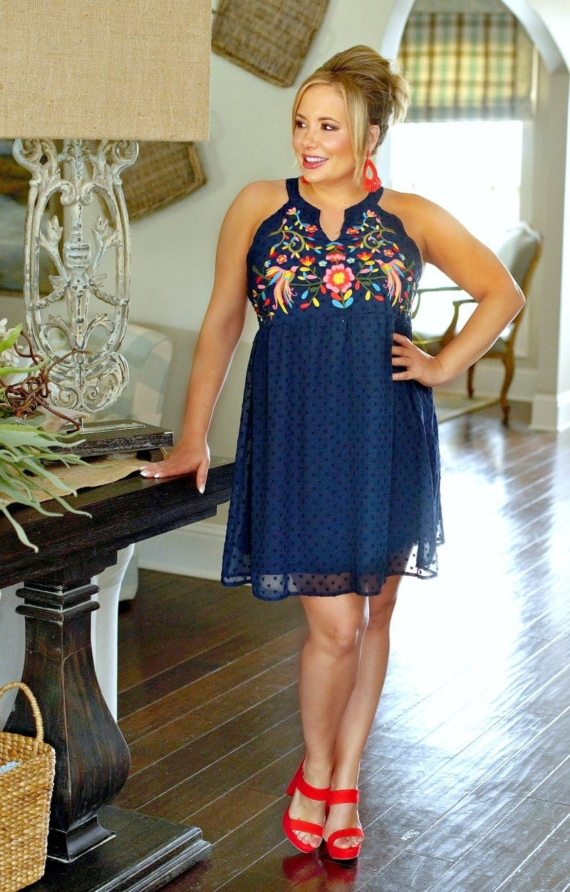 True To You Embroidered Dress - Navy