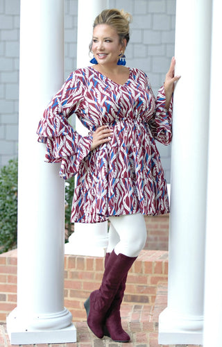 In Real Life Print Dress/Tunic - Burgundy