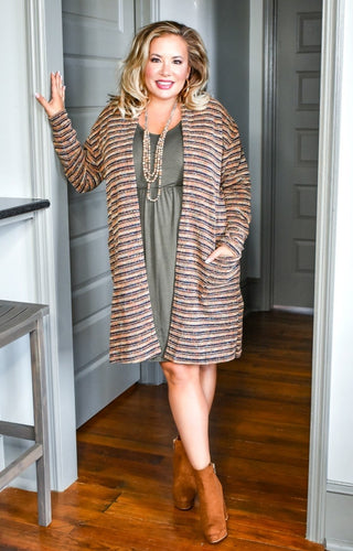 Autumn Melody Striped Cardigan - Camel