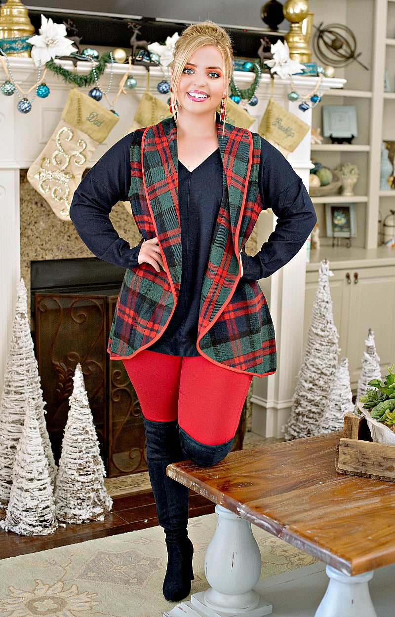 My Nice Side Plaid Vest - Red/Green