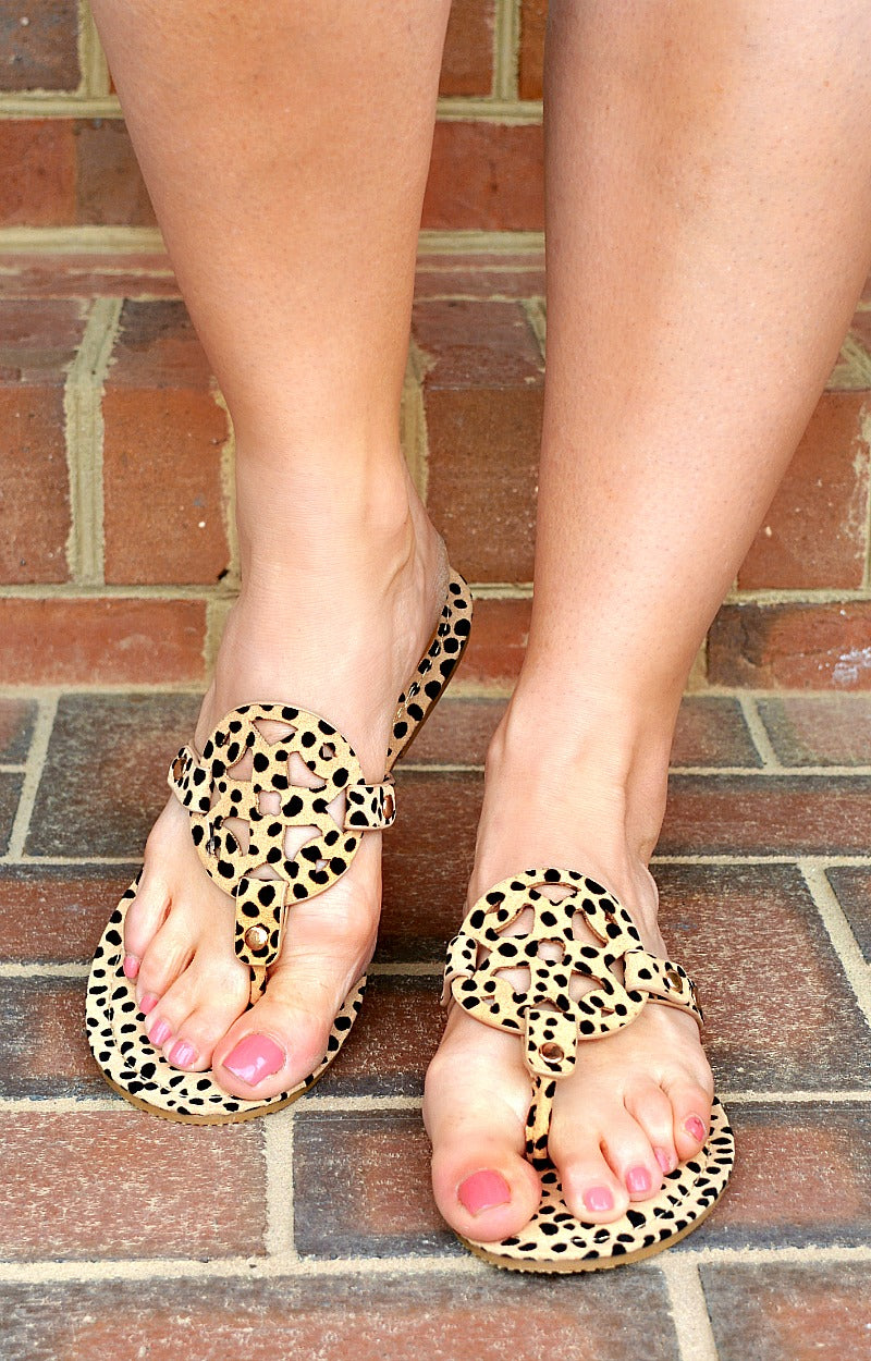 Watch You Go Suede Cheetah Print Sandals