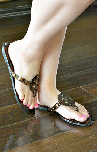 Watch You Go Leopard Print Sandals