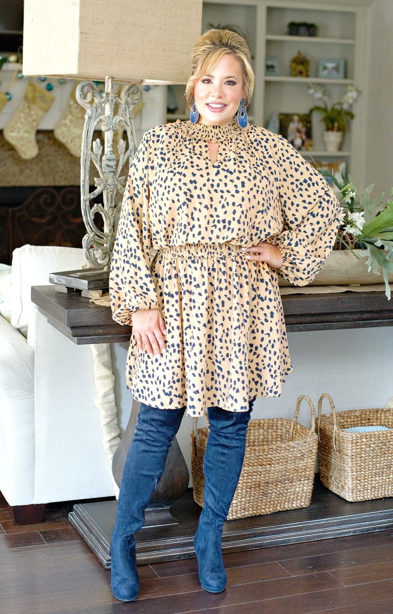 Well Played Leopard Print Dress - Caramel